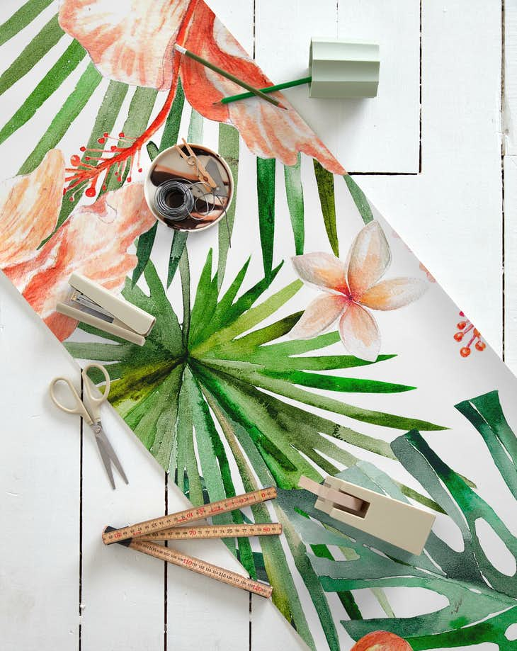 Buy Hibiscus Flowers And Tropical Leaves Wallpaper Free Us Shipping At Happywall Com Find & download free graphic resources for tropical leaves. hibiscus flowers and tropical leaves wallpaper